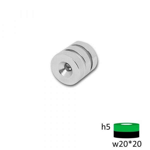 Неодимовый диск ST 20х5 мм. с зенковкой 4.5/10 мм