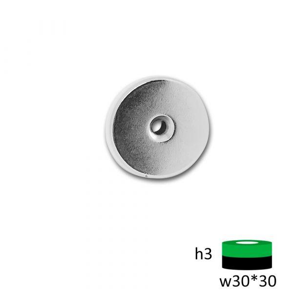 Неодимовый диск ST 30х3 мм. с зенковкой 4.5/7 мм