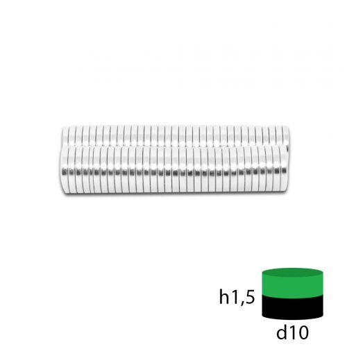 Неодимовый магнит 10х1,5 мм.