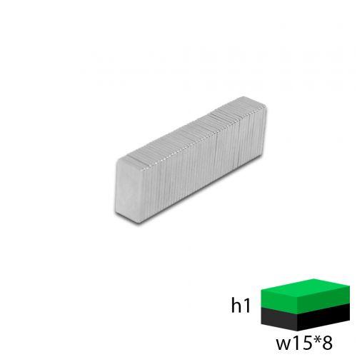 Неодимовый прямоугольник 15х8х1 мм.