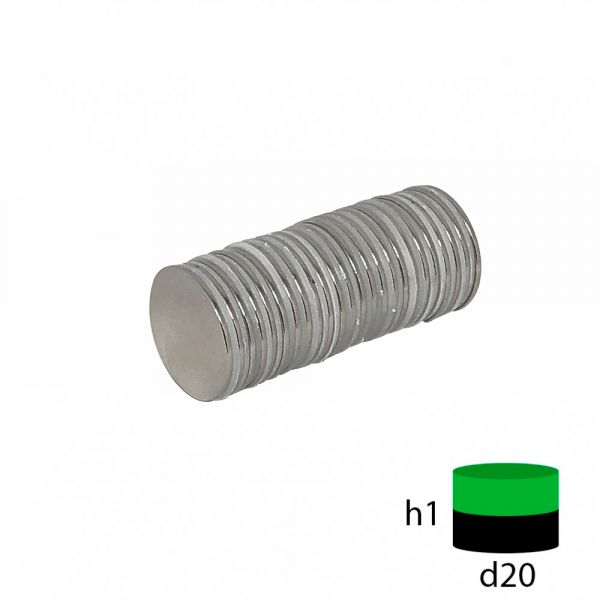 Неодимовый магнит диск 20х1 мм.
