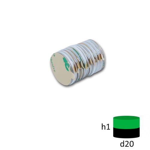 Неодимовый магнит диск 20х1 мм. с клеевым слоем 3м