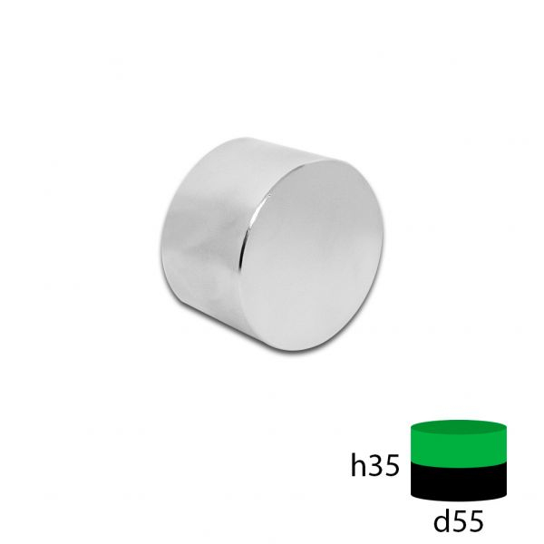 Неодимовый магнит диск  55х35 мм.