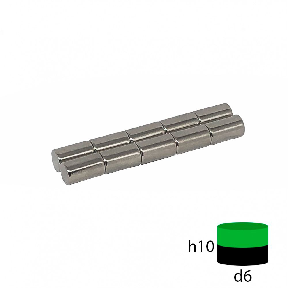 Неодимовый магнит пруток 6х10 мм.
