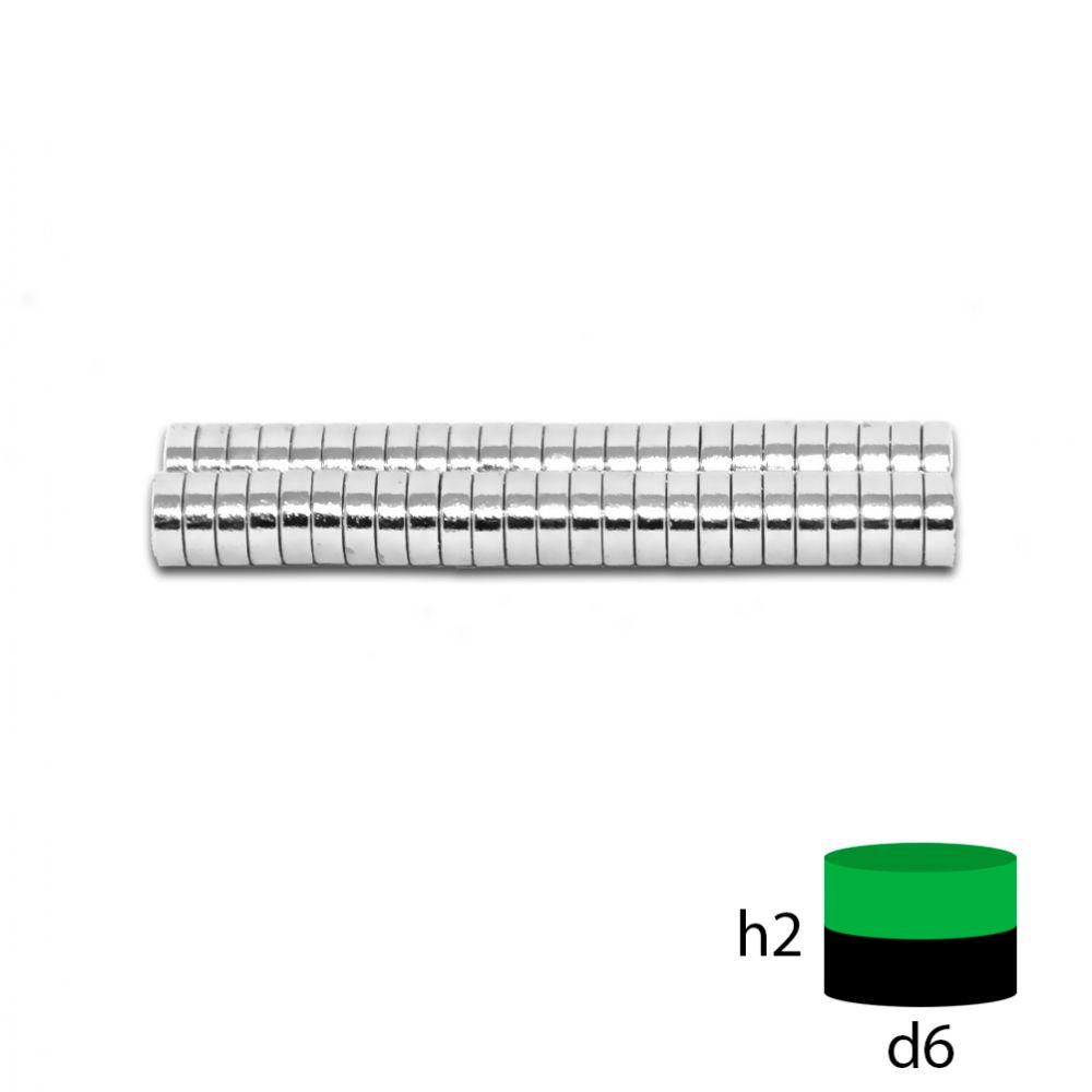 Неодимовый магнит 6х2 мм.