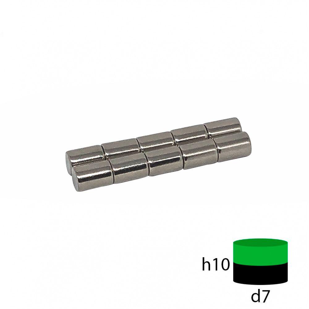 Неодимовый магнит пруток 7х10 мм.