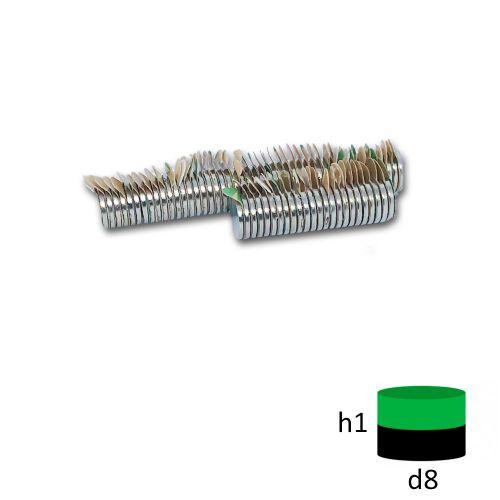 Неодимовый магнит диск 8х1 мм. с клеевым слоем 3М