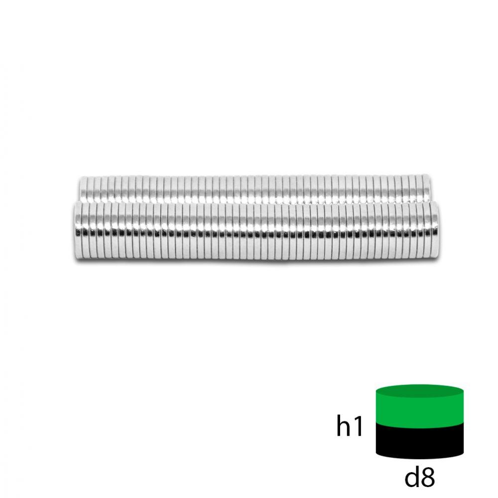 Неодимовый магнит 8х1 мм.