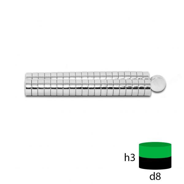 Неодимовый магнит 8х3 мм.