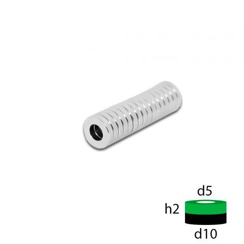 Неодимовый магнит кольцо 10х5х2 мм.