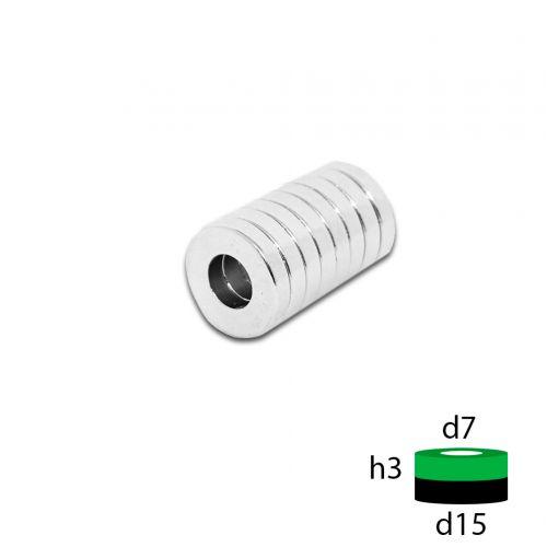 Неодимовый магнит кольцо 15х7х3 мм.