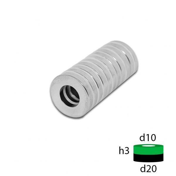 Неодимовый магнит кольцо 20х10х3 мм.