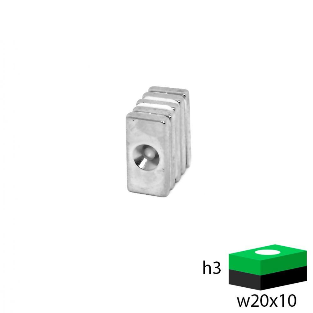 Неодимовый магнит прямоугольник с зенковкой 20х10х3 мм.