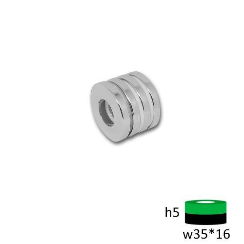 Неодимовый магнит кольцо 35х16х5 мм.