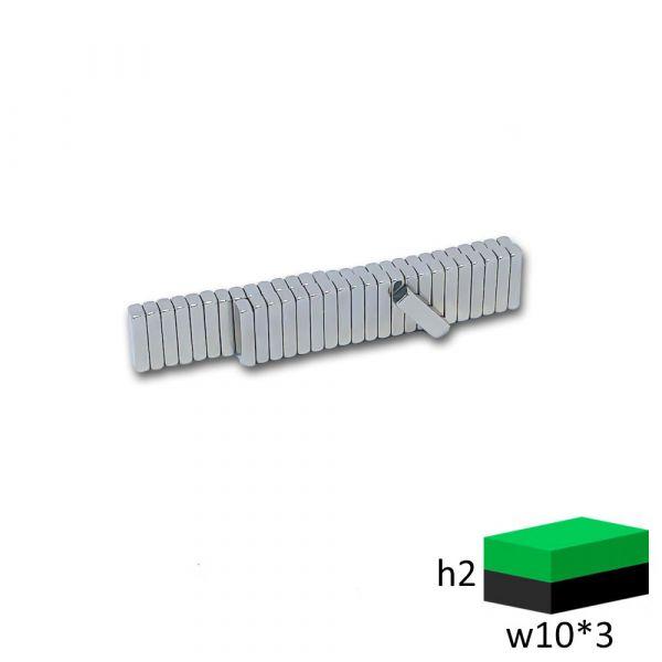 Неодимовый магнит прямоугольник 10х3х2 мм.