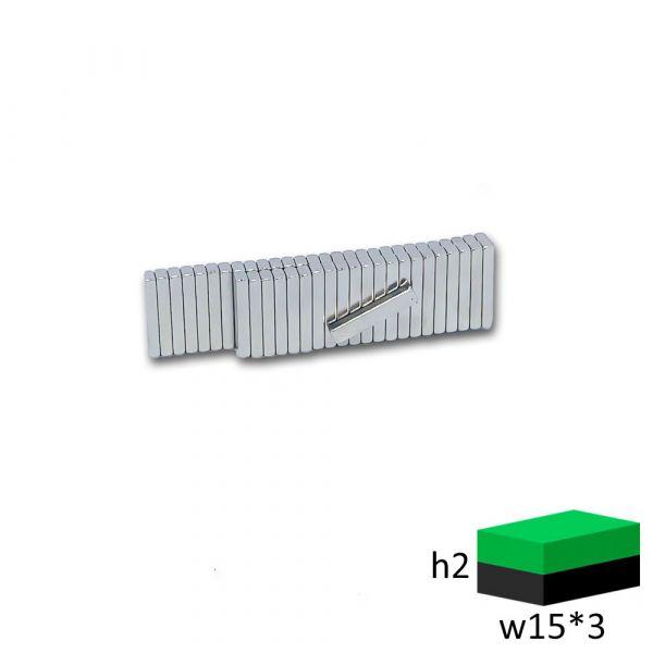 Неодимовый магнит прямоугольник 15х3х2 мм.