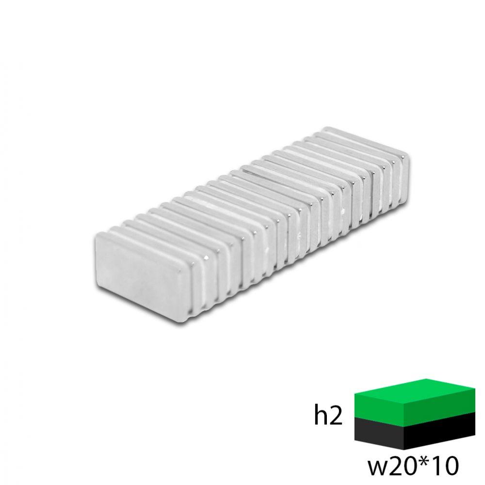 Неодимовый прямоугольник 20х10х2 мм.