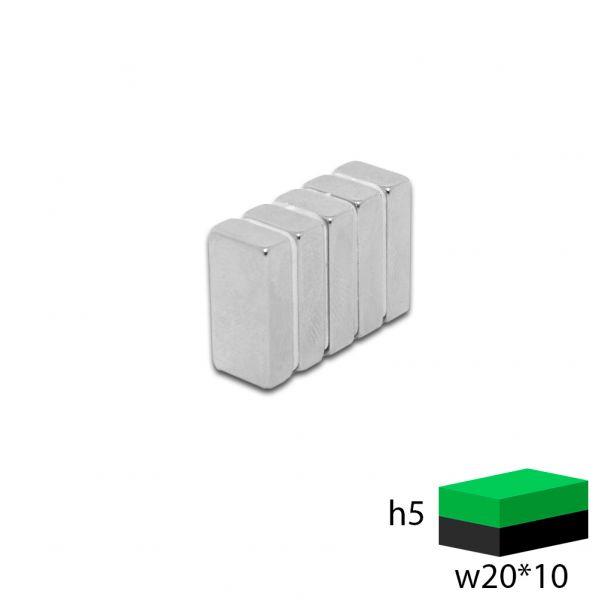 Неодимовый прямоугольник 20х10х5 мм.