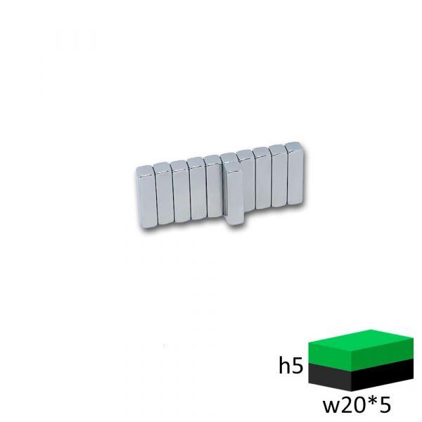 Неодимовый магнит прямоугольник 20х5х5 мм.