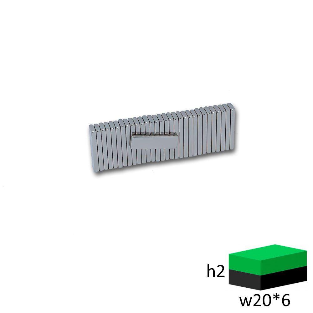 Неодимовый магнит прямоугольник 20х6х2 мм.