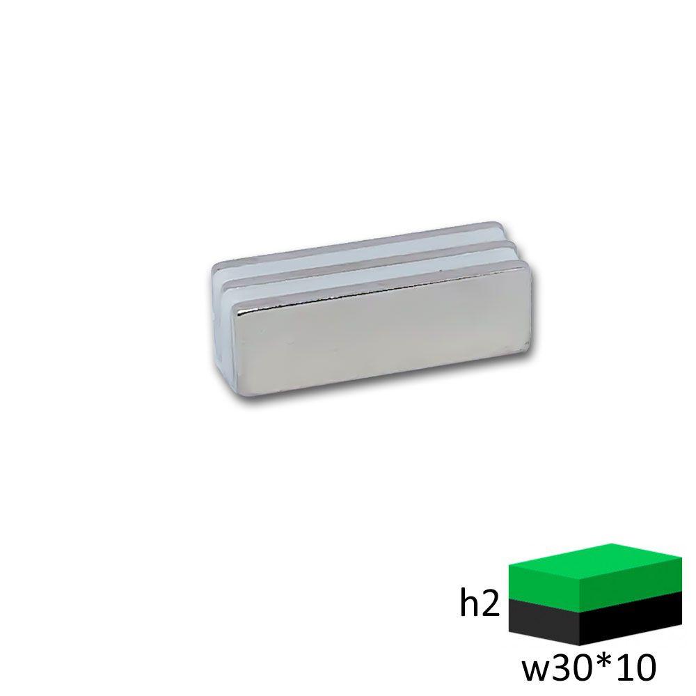 Неодимовый магнит прямоугольник 30х10х2 мм.