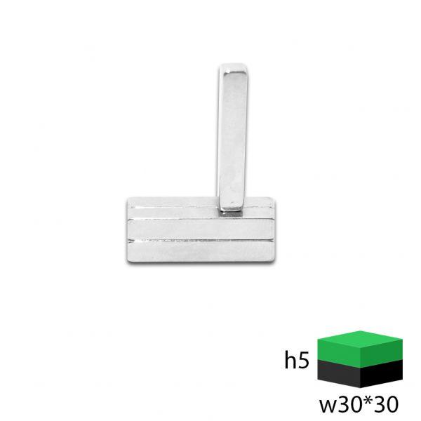 Неодимовый магнит прямоугольник 30х5х5 мм.