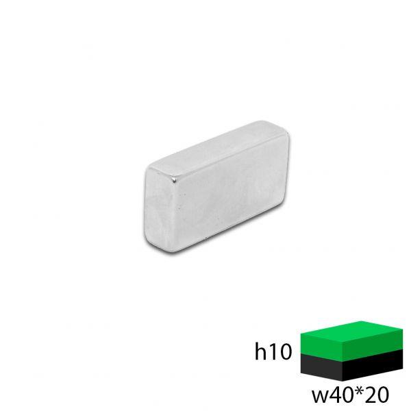 Неодимовый прямоугольник 40х20х10 мм.