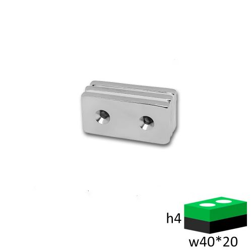 Неодимовый магнит прямоугольник 40х20х4 с зенковкой 3.5/7.5 мм.