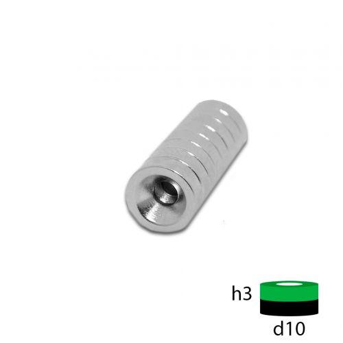 Неодимовый магнит диск 10х3 с зенковкой 3.5/7.5 мм.