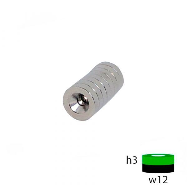 Неодимовый магнит диск 12х3 с зенковкой 3.5/7 мм.