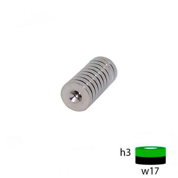 Неодимовый магнит диск 17х3 с зенковкой 4.5/7.5 мм.