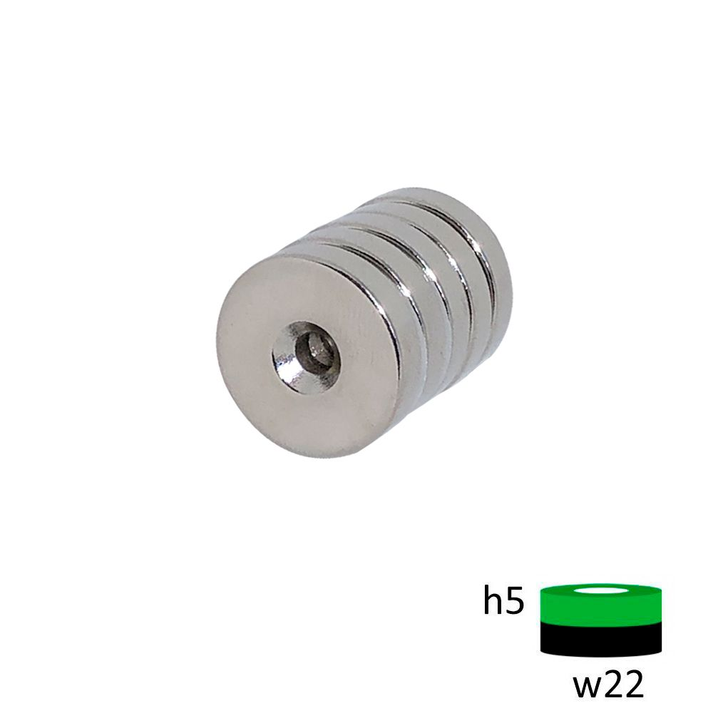 Неодимовый магнит диск 22х5 мм с зенковкой 4.5/7.5 мм
