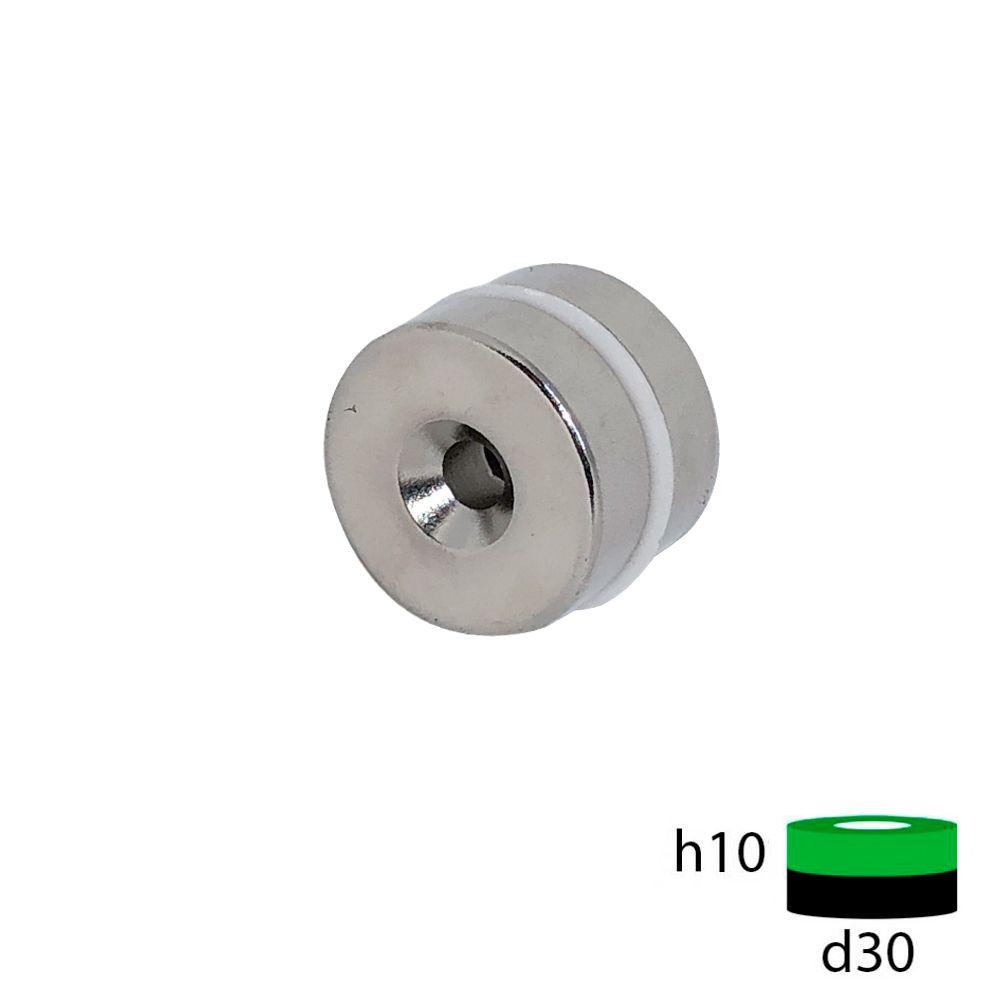Неодимовый магнит 30х10 мм с зенковкой 5.5/10 мм