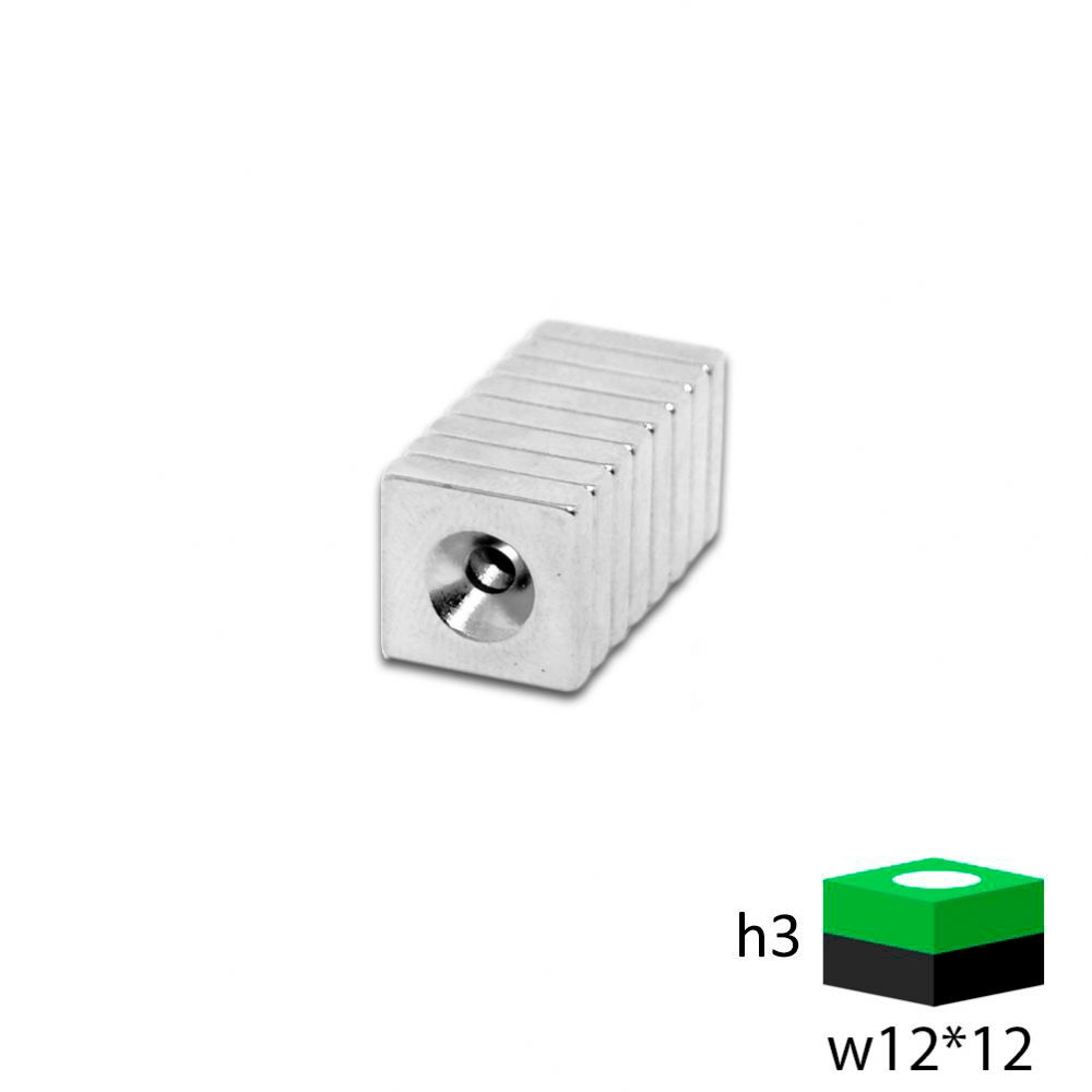 Неодимовый магнит прямоугольник с зенковкой 12х12х3 мм.