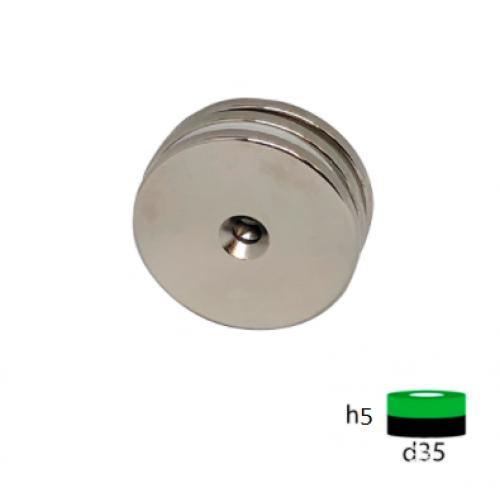 Неодимовый магнит диск 35х5 с зенковкой 10/5 мм