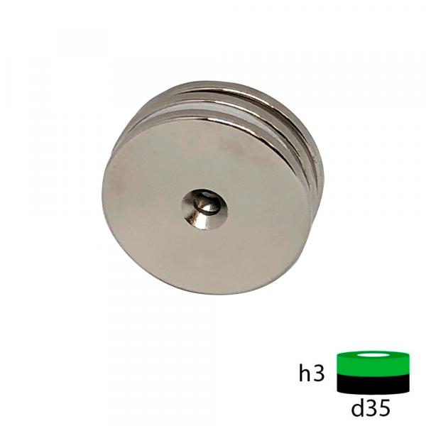 Неодимовый магнит диск 35х3 с зенковкой 5.5/8.5 мм