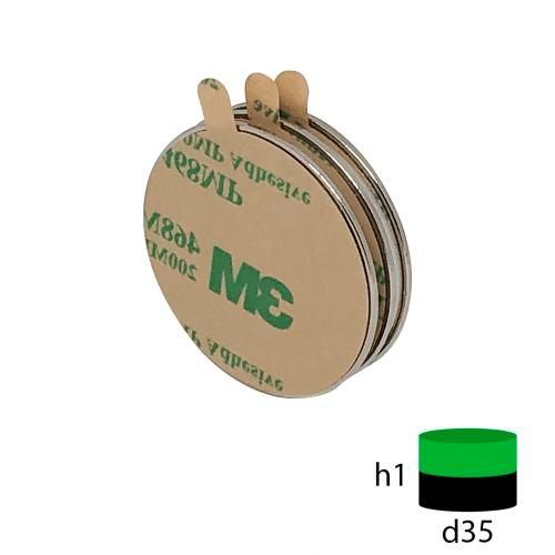 Неодимовый магнит диск 35х1 мм с клеевым слоем 3М
