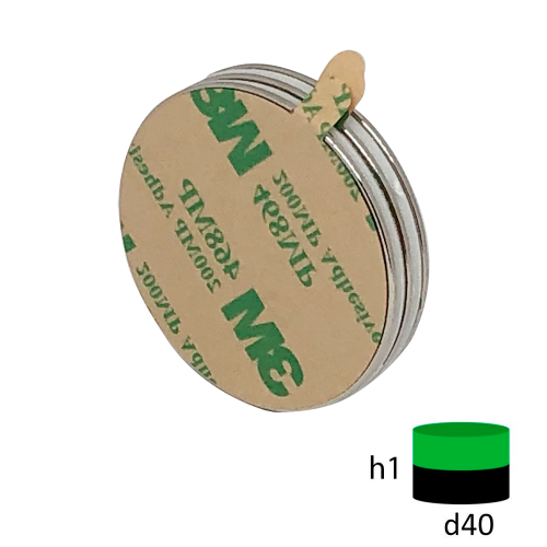 Неодимовый магнит диск 40х1 мм с клеевым слоем 3М