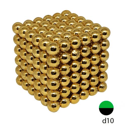 Неокуб золотой 10 мм. (Самый большой в России, 216 шариков)