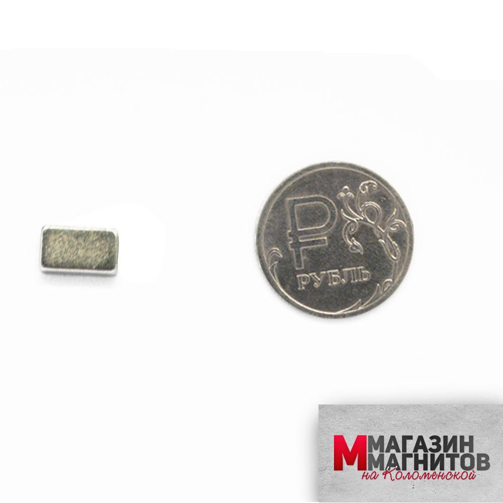 Неодимовый магнит прямоугольник 10х6х3 мм.