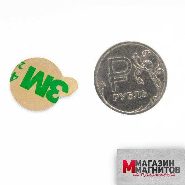 Неодимовый магнит диск 15х1 мм. с клеевым слоем 3м
