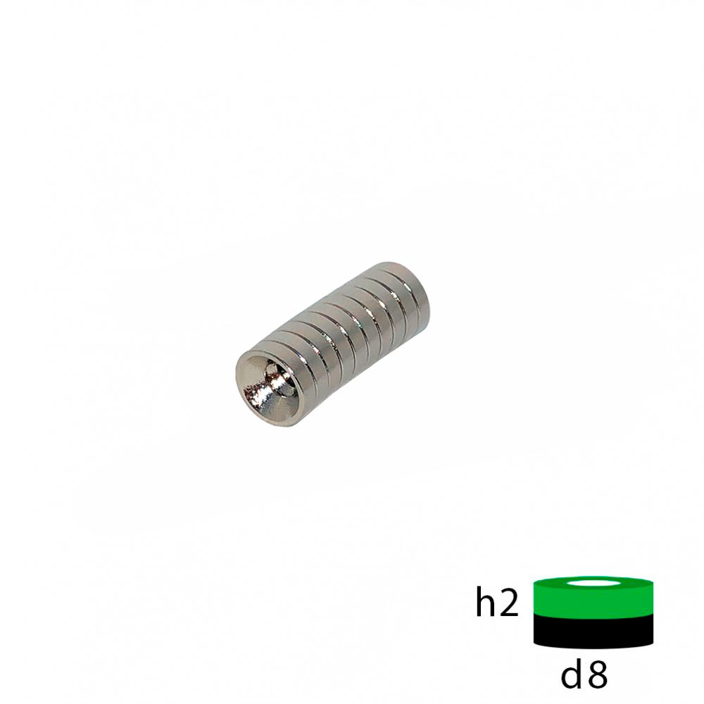 Неодимовый магнит диск 8х2 с зенковкой 3.5/7 мм.