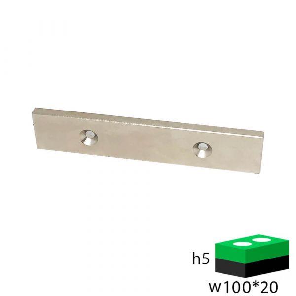 Неодимовый магнит прямоугольник 100х20х5 мм с двумя зенковками 4.5/10