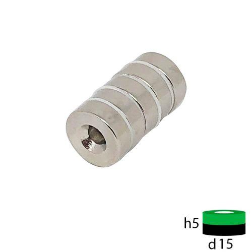 Неодимовый магнит диск 15х5 мм с зенковкой 4.5/10 мм