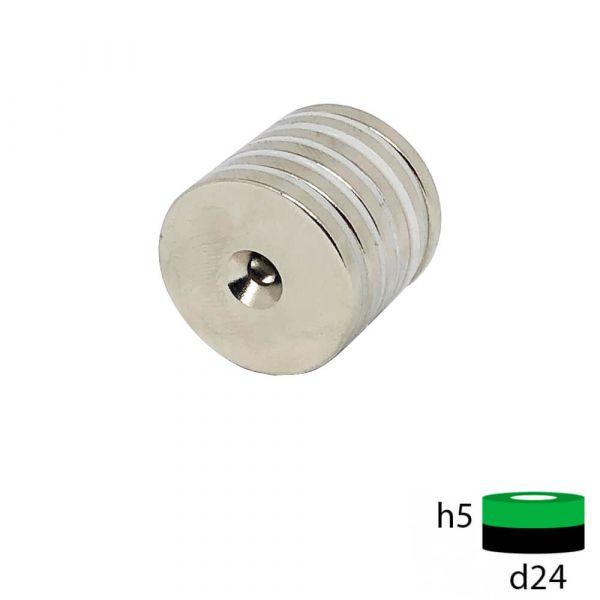 Неодимовый магнит диск 25х5 мм с зенковкой 4.5/7.5 мм