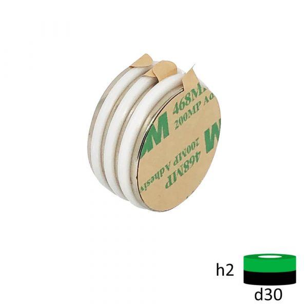 Неодимовый магнит 30х2 мм с клеевым слоем 3М