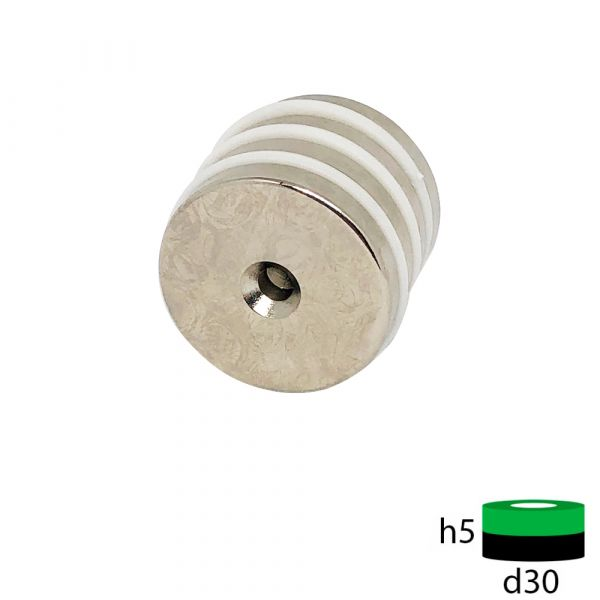 Неодимовый магнит 30х5 мм с зенковкой 5.5/10 мм