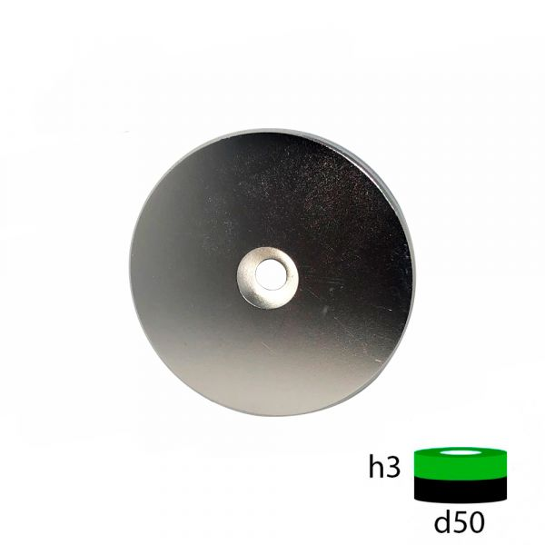 Неодимовый магнит диск 50х3 с зенковкой 5.5/10 мм