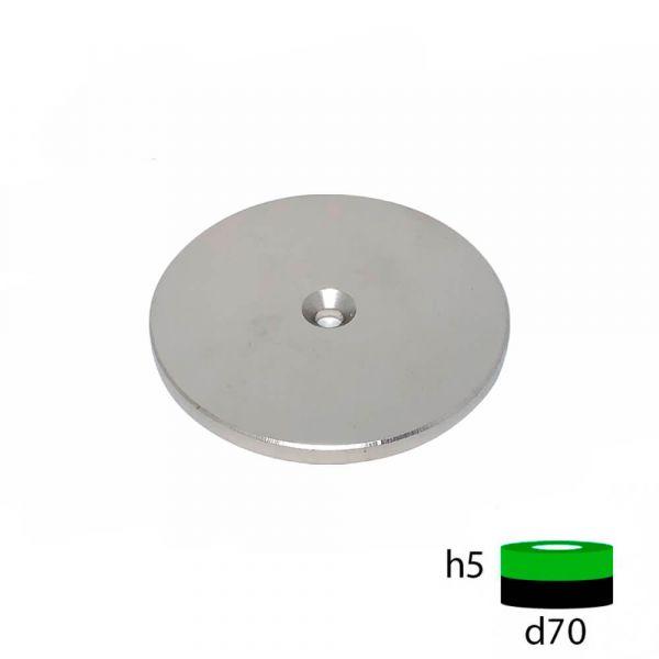 Неодимовый магнит диск 60х5 с зенковкой 5.5/10 мм
