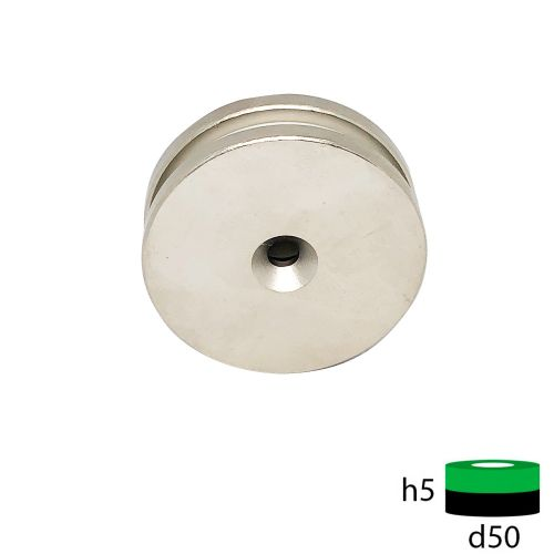 Неодимовый магнит диск 50х5 с зенковкой 5.5/10 мм